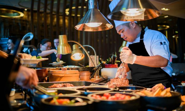Buffet carving station at Cucina